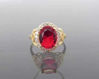 Vintage 18K Solid Yellow Gold 2.85ct Fire Garnet & White Topaz Ring Size 6.5