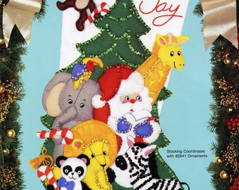 "Jungle Bells 18"" Bucilla Felt Christmas Stocking Kit #82906"