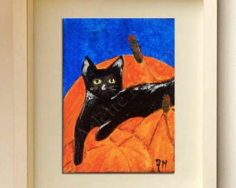 ACEO black cat Miniature art Cat ACEO Original painting Art cards Miniature artwork ATCs ACEO art card Original aceo
