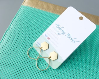 Geo | Brass Hexagon | Earrings