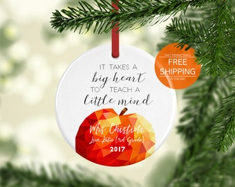 Teacher Christmas gifts, personalized ornament, elementary school, class of 2017