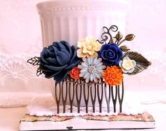 Navy blue Orange and Ivoroy flowers Country garden hair accessory Bridal hair comb Something blue Shabby chic flower comb