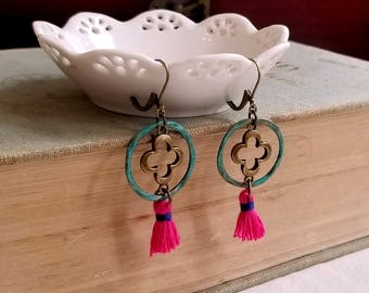 Dangling earrings Shabby chic fuchsia tassels Patina circle Colorful boho earrings