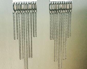 Mixed metal drop earrings