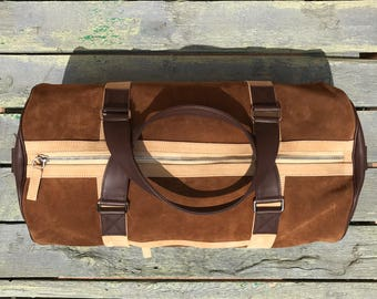 Suede Duffel Weekend Bag