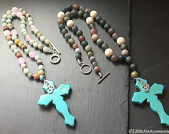 Amazonite Necklace, Amazonite Beaded Necklace, Om Necklace, Pastel Jewelry, Gemstone Cross Necklace, Gemstone Necklace, Beaded Necklace
