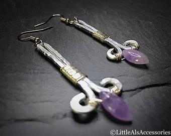 Lavender Amethyst Earrings, Amethyst Earrings, Amethyst Jewelry, Wire Wrap Earrings, February Birthstone, Marquise Cut, Lilac Earrings, Gift
