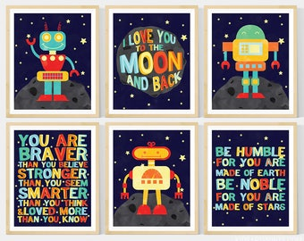 Robot Nursery Art, Kids Wall Art, Space Nursery Art , Set of 6-  8x10 Prints, Featuring 3 Cute Robots, I love you to the moon and back