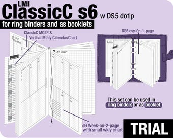 Trial [A6 ClassicC S6 with DS5 do1p] November to December 2017 - Filofax Inserts Refills Printable Binder Planner Midori.