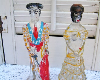 1970's Nogueras Barcelona 6 7/8 inch tall Hand Painted Spanish Senorita and Matador Figural Liquor Bottle Decanters Brandy and Crema Cacao