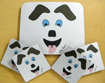 DOG FACE Mousepad OR Placemat plus Coasters Gift set titled Happy Dog created by Pam Ponsart of PonsArt; Optional Gift Box