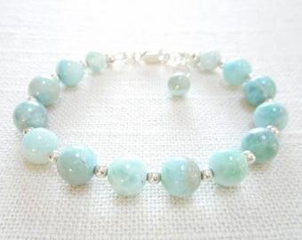Larimar Bracelet, Genuine Gemstone Sterling Silver Jewelry, Sky Blue Stone Beaded Bracelet, Light Blue Larimar Bead Jewelry, Gift for Her