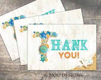 Beach Sand and Seashells Thank You Card- Printable File