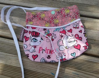 Miss cotton bag with cats in shades of pink and blue patterns