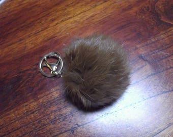 tassel Keychain with rabbit, 65 mm dark brown color