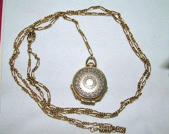 Vintage 80's 1928 4 Way Locket Pocket Watch Fob Lavaliere Necklace