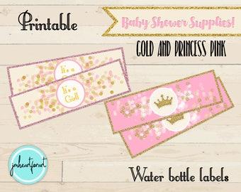 Pink & Gold-crown-Baby Shower-Water Bottle Labels -Printable Labels-Digital Print-Princess-Bottle Labels-Baby Shower Decor-Print and Ship
