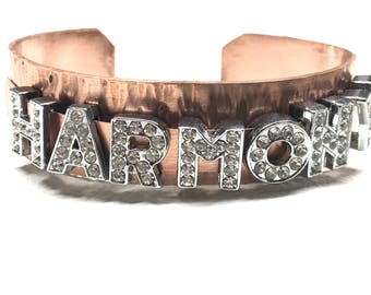 Custom Copper textured bracelet- Any word or name crystal letters