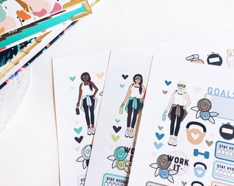 Fitness Girl Planner Stickers, Traveler's notebook Sticker kit, Workout Planner Stickers Printable, Health and Fitness Planner, Drink Water