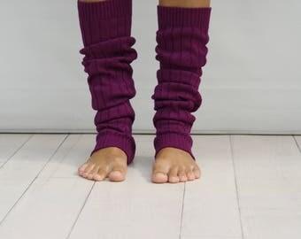 Purple Knitted Legwarmers   // Woman Boot Socks // Dancing Leg Warmers // Yoga tights // Ballet Leg Warmers // Yoga Leg Warmers