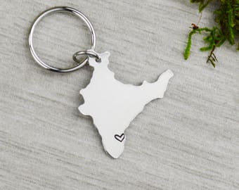 India Keychain - Best Friend Gift - Couples Gift - Long Distance Love