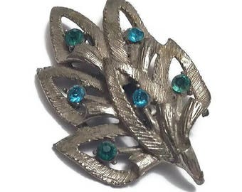 Rhinestone Pewter Leaf Brooch Pin Aqua Blue Teal Green Stones Mid Century Silver Pewter Leaves Broach Fall Fashion Leaf Vintage Jewelry Gift