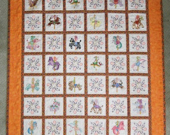 Carousel Animals machine embroidery handmade baby quilt or wall hanging