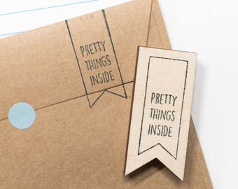 Rubber stamp 'pretty things inside', gift crafters, postal stamps, package stamp, snail mail ideas, diy craft supplies, gift wrapping ideas