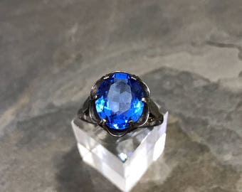 Vintage Sarah Coventry Sterling Silver blue Cubic Zirconia Flower Ring, stamped Sarah Cov