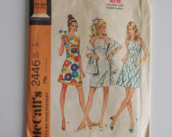 Dress and stole pattern size 5, McCall's 2446, vintage sewing pattern, misses and junior dress and stole, high waisted dress mod dress 1970.