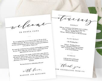 Wedding Welcome Thank You Letter and Wedding Itinerary,  DIY Wedding Welcome Bags or Gift Baskets - Instant Download Printable PDF Template