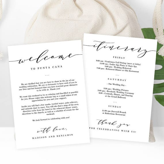 Wedding welcome thank you letter and wedding itinerary diy wedding welcome thank you letter and wedding itinerary diy wedding welcome bag gift basket tag instant download printable template esc from pronofoot35fo Gallery