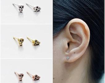 925 Sterling Silver Oxidized Earrings, Tiny Skulls Earrings, Gold Plated Earrings, Rose Gold Plated Earrings,  Stud Earrings (Code : K15A)