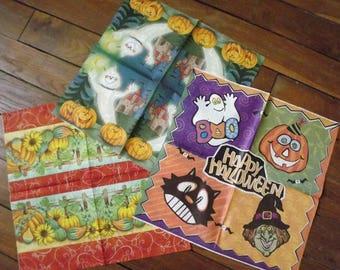Set 3 Halloween themed paper napkins