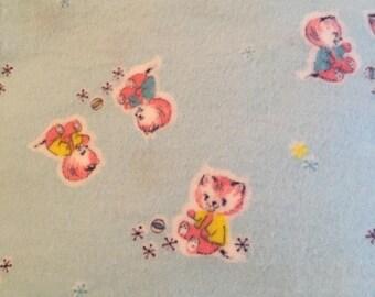 Vintage novelty flannel fabric , 5 yards
