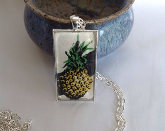 Bezel Set Fabric Necklace   Pineapple Fabric   Quilters Necklace   Quilt Fabric Necklace   Gift for Quilter   Quilters Jewellery