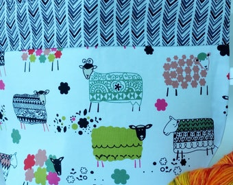 Sock to Shawl Drawstring WIP Project  Wedge Bag, What the Flock, Happy Knitting Sheep Knitting bag, Drawstring