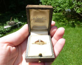 Antique 14k Solid Gold Victorian Engagement Ring, Size 6.5, Charming and Romantic Old Ring in Original Box, Circa 1890s