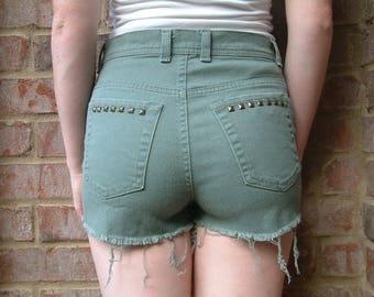 Vintage Army Green Denim Studded High Waisted Shorts - Gloria Vanderbilt - S