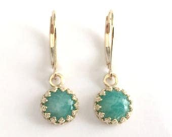 Angeline Quinn Vintage Inspired Turquoise Amazonite and 9 Carat Yellow Gold Earrings