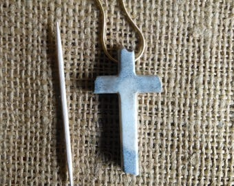 "Cross necklace made of Moose antler...rugged cross is 2"" long/tall (about 1"" wide) natural color with short 9-1/2"" chain"