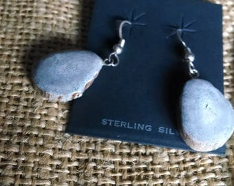 "Deer Antler Earrings, small 3/4"" long slice (less than 1/2"" wide) natural gray color, sterling silver fishhook wires"