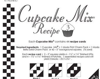 """Moda 5"""" Charm CUPCAKE MIX Recipe # 3 (44 Recipe Cards Per Pad), Piecing Made Easy, Pin, Stitch, Cut"""