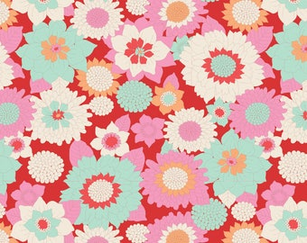 USA!  TILDA The LEMON Tree Fabric Collection 1 Yard Boogie Flower in Red