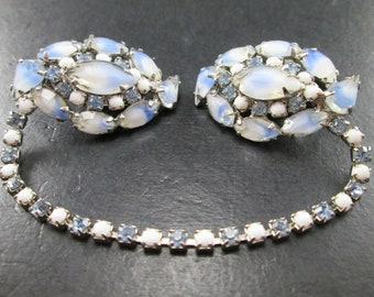 Vintage 60s Blue & White Marbled Marquise Rhinestone and Bead Sweater Guard Clips