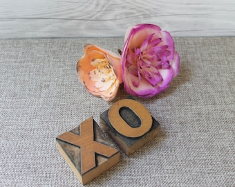 XO Wood Letterpress Letter Blocks from 1930s, Vintage Letterpress XO -  Hugs and Kisses [Inventory #10]