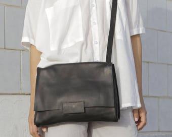 Matte Black women handbag, Black shoulder bag - Leather bag - Leather Messenger Bag -  Womens Satchel - Black CrossBody Bag   - Nico bag