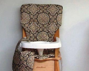 cotton high chair cushion, eddie bauer chair pad, kids feeding chair, child seat protector replacement cover, medallions with matching bib