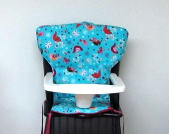 Safety First wood highchair, chair cover, Eddie Bauer Newport replacement high chair pad, feeding chair pad, baby accessory, paradise birds