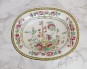 Colorful Cauldon England Porcelain Bowl - Antique China Oval Bowl - Vintage Bowl